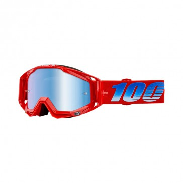 100% Racecraft KURIAKIN Goggle, mirror blue Glas, Rahmen red