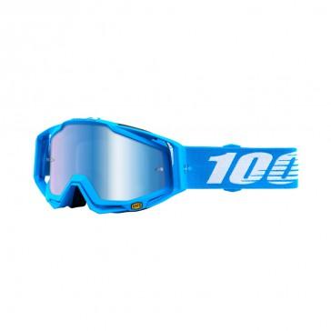 100% Racecraft MONOBLOCK Goggle, mirror blue Glas, Rahmen sky blue