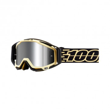 100% Racecraft Plus JIVA Goggle, mirror silver Glas, Rahmen black-yellow