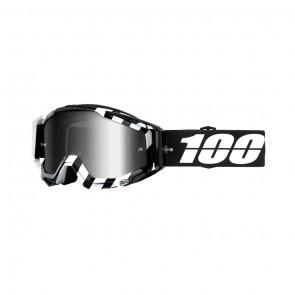 100% Racecraft ALTA Goggle, mirror silver Glas, Rahmen black-white