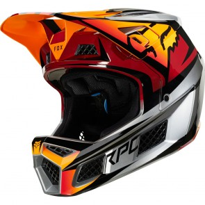 FOX RAMPAGE PRO CARBON 2019 Helm, fluid inside, Beast iced orange/red