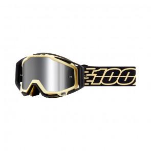 100% Racecraft Plus JIVA Goggle, mirror silver Glas, Rahmen schwarz / matt beige