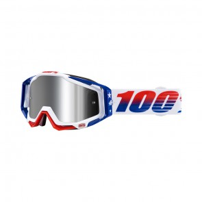 100% Racecraft Plus LE MXDN Goggle, mirror silver Glas, Rahmen white-red