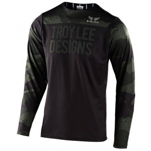 2020 Troy Lee Designs SKYLINE LS Jersey, Herren Mountainbike Trikot, langarm, Pinstripe Camo Green/Black