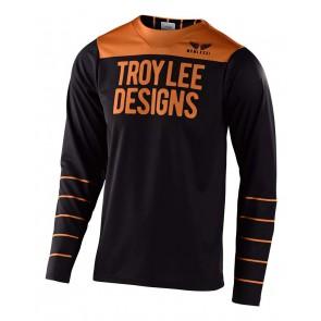 2020 Troy Lee Designs SKYLINE LS Jersey, langarm, Pinstripe Black/Gold, EINZELSTÜCK!